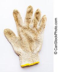 Old gloves on white background