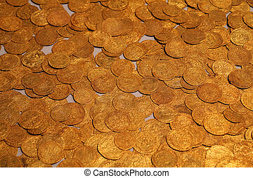 British Museum - Old gold coins in British Museum -...