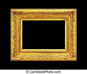 Old gold frame isolated on black
