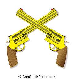 Old gold handgun - Old fashioned golden hand guns crossed...