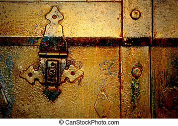 Old gold metal chest, - Old metal chest, trunk in golden...