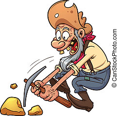 Old gold miner. Vector clip art illustration with simple...