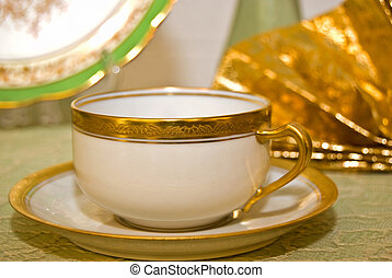 Old Gold - Vintage coffee cup set trimmed in gold.