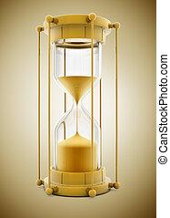 old gold sand clock measuring time - 3d illustration
