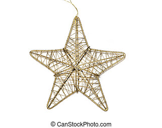 old golden christmas toy star isolated on white background