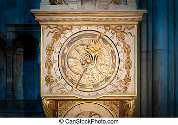 Old golden clock in Lyon, France.