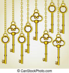 old golden keys