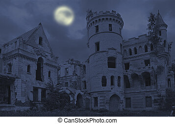 Old gothic manor - Abandoned manor in gothic style,...