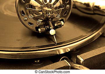Old gramophone and old records