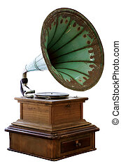 Old gramophone isolated on white background.