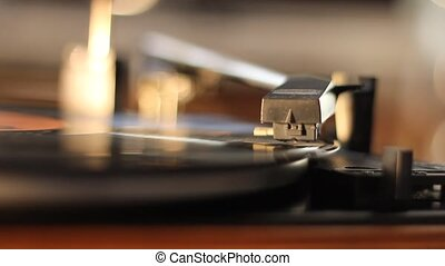 Old gramophone play music close up