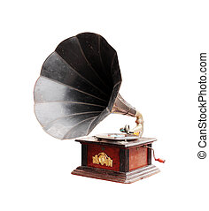 Old gramophone isolated on a white background