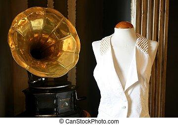 Old gramophone - Old brass golden gramophone