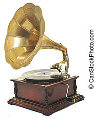 old gramophone - retro old gramophone with horn speaker for...
