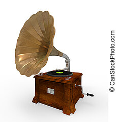 Old Gramophone with Horn Speaker isolated on white background. 3D render
