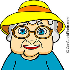 Old grandmother in hat and eyeglasses. Vector ilustration in...