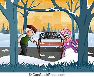 Old grandparents in the winter park illustration