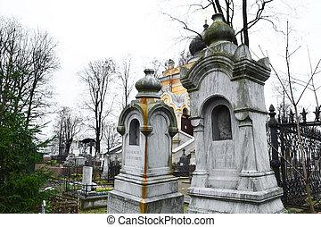 Old graves on Nikolskoye cemetery, St.Petersburg, Russia.