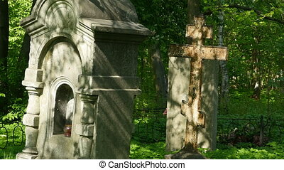 old Gravestone and iron cross - old grave cross, old graves ...
