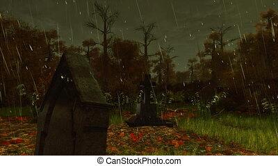 Old gravestone at rainy autumn night 4K