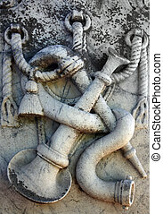 Old Gravestone - Old grunge gravestone relief memorializing...