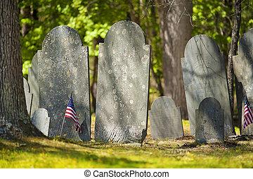 Old gravestones in revolutionary war cemetery