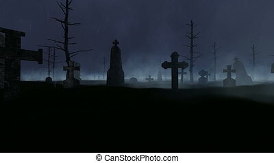 Old Graveyard, Fog, Rain, Night and Thunder, motion graphic