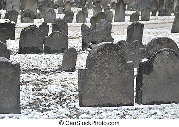 Old graveyard in winter
