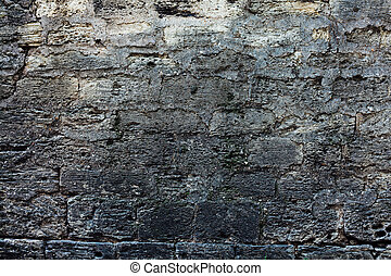 old gray brick wall retro background texture of the stone