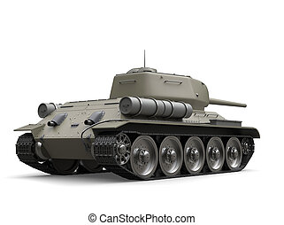 Old gray military heavy tank - back view