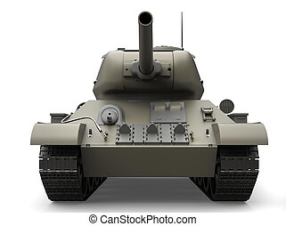 Old gray military heavy tank - front view closeup shot