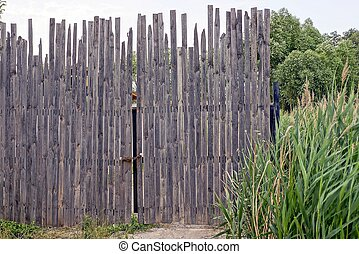 old gray wooden gate of long boards in the green grass
