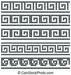 Old greek mosaic border designs