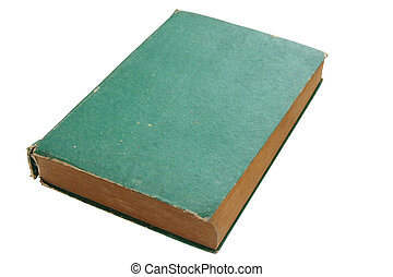 old green book isolated on white background with clipping path