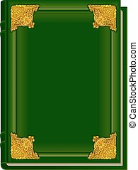 Old green book Koran. Holy Quran. Closed book with golden...