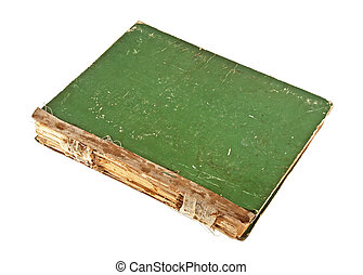 Old green book on a white background