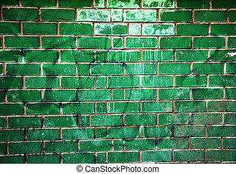 old green brick wall