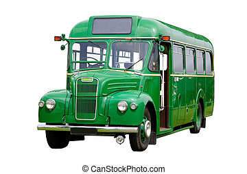 Vintage green bus, isolated on white. With detailed clipping path.