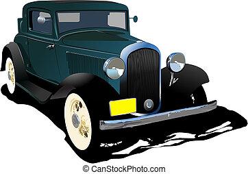 Old green cab. Vector illustration