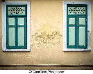 old green closed window