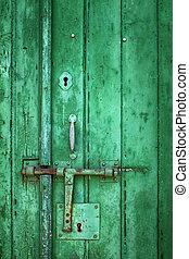 Old Green Door Detail