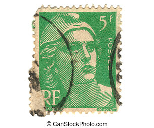 Old green french stamp - 5 franc