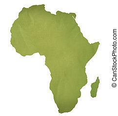 Old green paper map of Africa