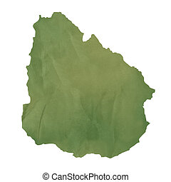 Old green paper map of Uruguay isolated on white background