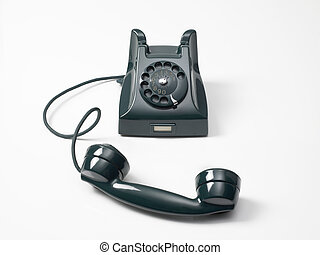 old green phone on a white background