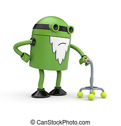 Old green robot whose back pain holding a cane