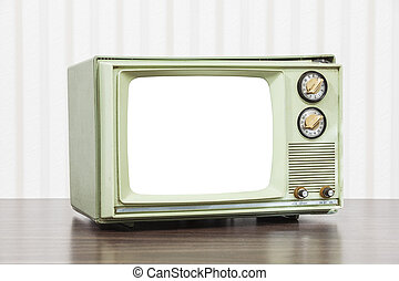 Old Green Television with Cut Out Screen