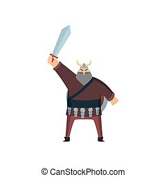 Old grey-haired viking stands with sword above head over white background