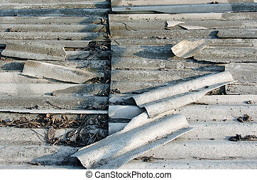 Old grey roof tiles, top view