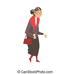 Old Grey Senior Woman Walking with Bag Vector Illustration on White Background.